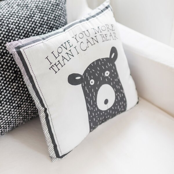 Little Bear 100% Cotton Throw Pillow by My Baby Sam